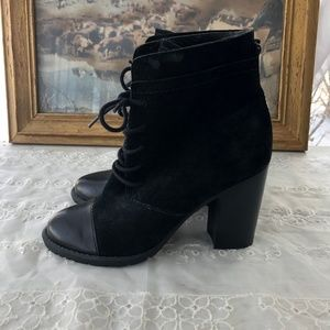 Franco Sarto Ozzie Black Suede Ankle Boots - 6